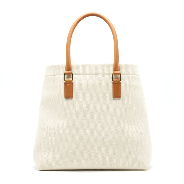 CELINE HORIZONTAL CABAS CELINE IN CANVAS WITH CELINE PRINT AND CALFSKIN NATURAL / TAN