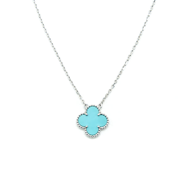 Van Cleef & Arpels Alhambra Vintage Turquoise White Gold Necklace