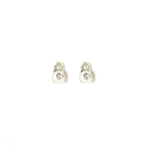GUCCI GG Pearl with White Crystal Clip Earrings