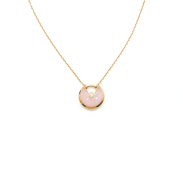 Cartier Amulette De Cartier Pink Opal With Diamond Pink-Gold Necklace