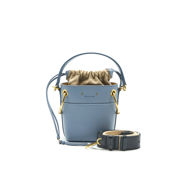 CHLOE ROY BUCKET LEATHER CROSS BODY BAG LIGHT BLUE
