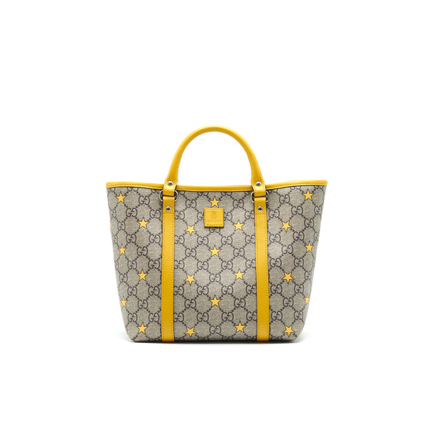 GUCCI Kid's GG Supreme Tote Bag Yellow Star
