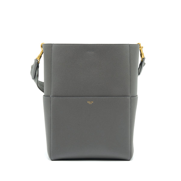 CELINE SANGLE BUCKET BAG DARK GREY WITH BLACK STITCHING