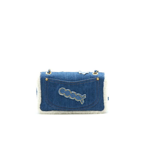 CHANEL Denim Shearling Hieroglyph Flap Blue