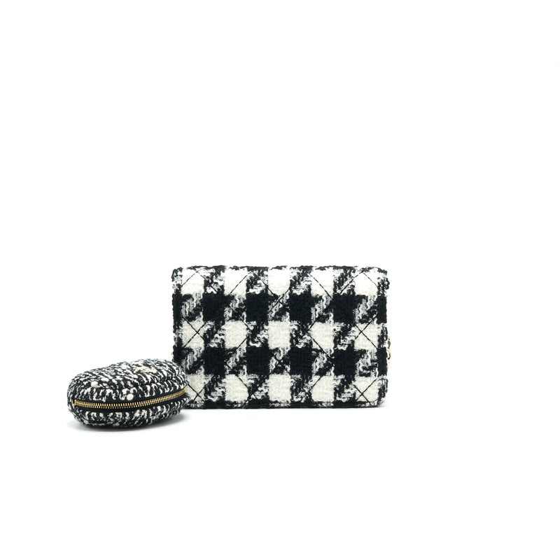 Chanel Houndstooth Tweed Wallet On Chain Black/ White