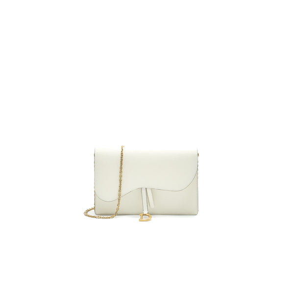 Dior saddle Pouch with Chain White GHW