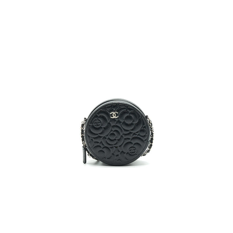 CHANEL Camellia Round Clutch With Chain Black
