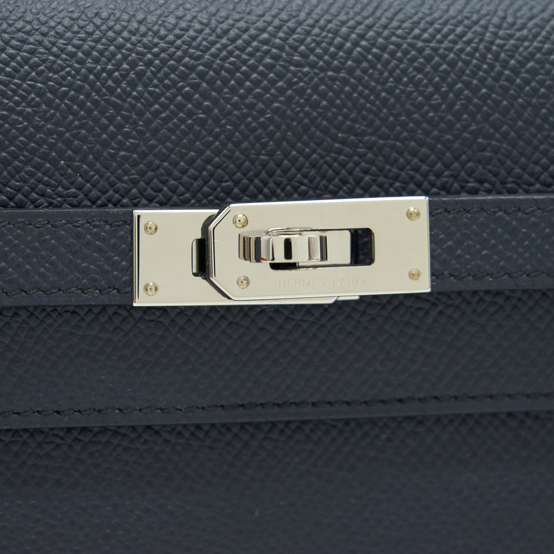 Hermes Classic Kelly to go Blue Nuit/ Black SHW