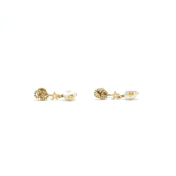 CHRISTIAN DIOR CD EARRINGS STARS WITH PEARL
