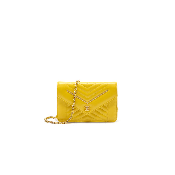 Chanel Seasonal Wallet On Chain Yellow