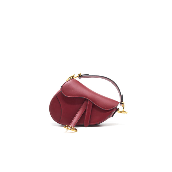 CHRISTIAN DIOR MINI SADDLE RED CALFSKIN
