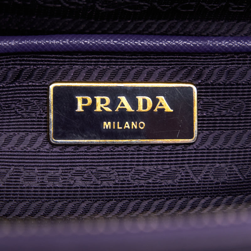 Prada Saffiano Leather Tote Bag Purple GHW