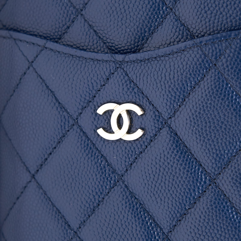 CHANEL PHONE POUCH CAVIAR NAVY BLUE