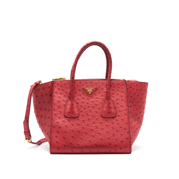 Prada Ostrich Tote Bag Red with GHW