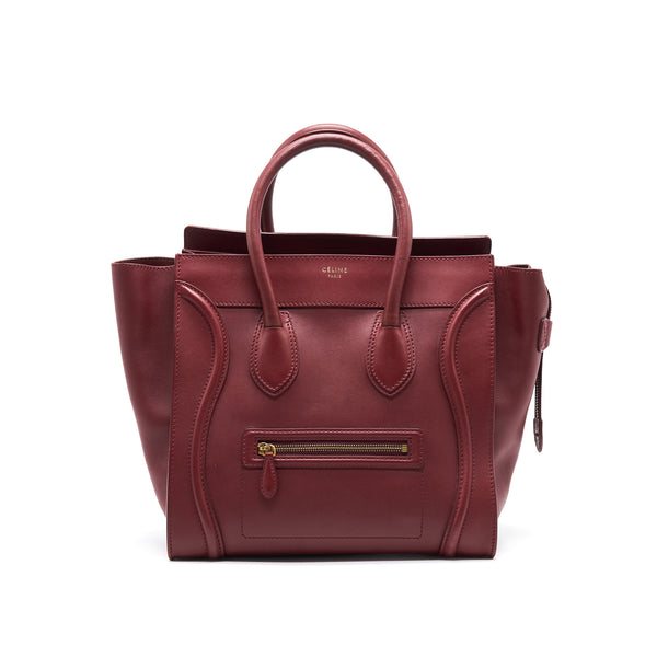 CELINE MINI LUGGAGE HANDBAG IN DARK RED
