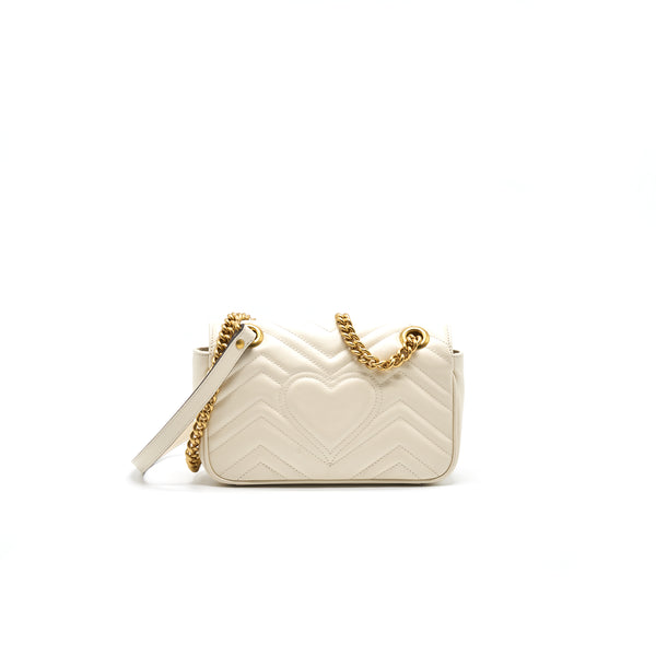 GUCCI GG MARMONT MINI BAG WHITE WITH GOLD