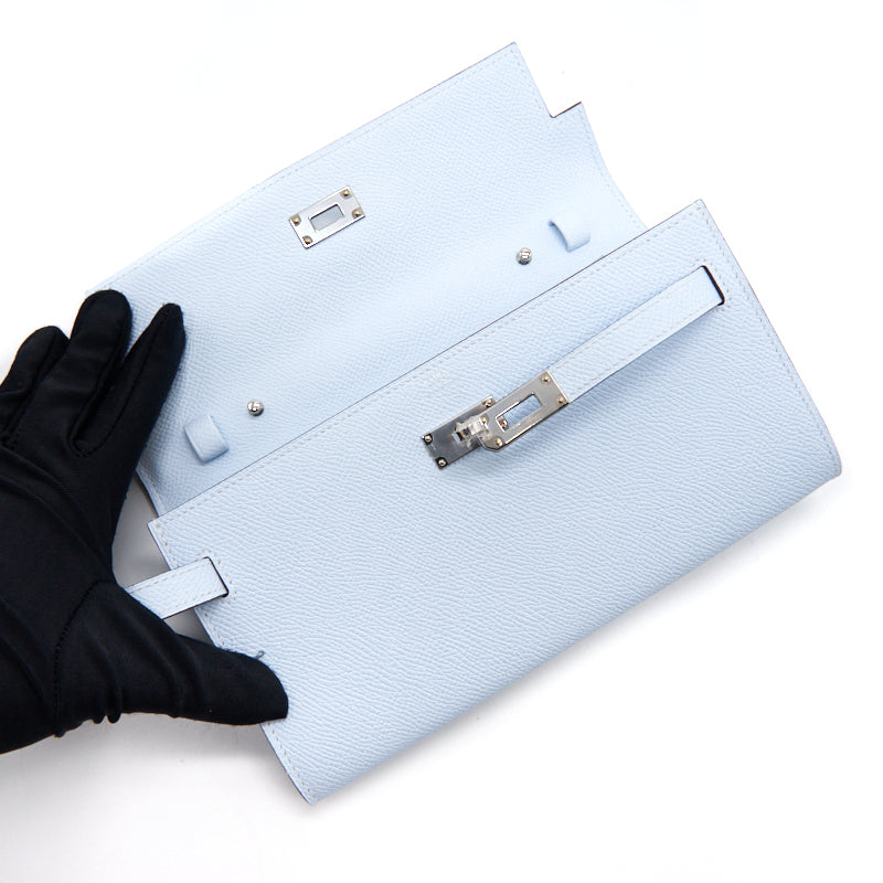 Hermes Classique Kelly To Go Wallet T0 Blue Brume with SHW year 2020