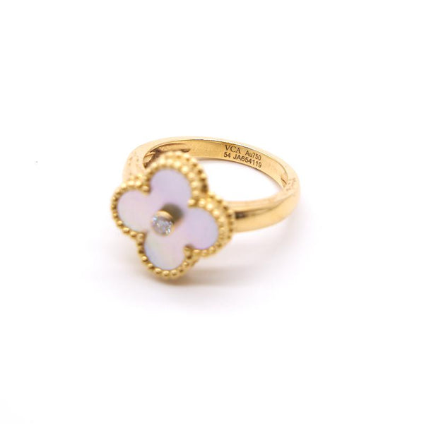 Van Cleef Arpels Mother of Pearl Yellow Gold Vintage Alhambra Ring - EMIER
