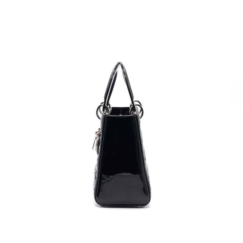 Dior Black Patent leather Medium Lady Dior Tote