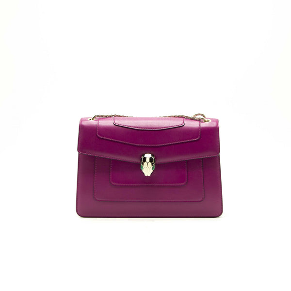 Bvlgari Purple Leather Medium Serpenti Forever Flap Shoulder Bag - EMIER