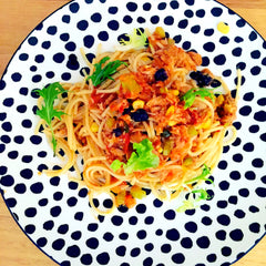 Tuna pasta with desert limes and bush tomatoes