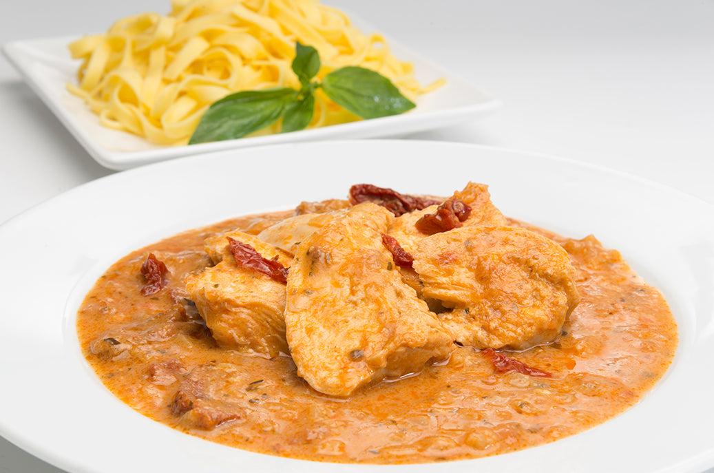 Chicken in a Red Pesto Sauce with Sun-Dried Tomatoes