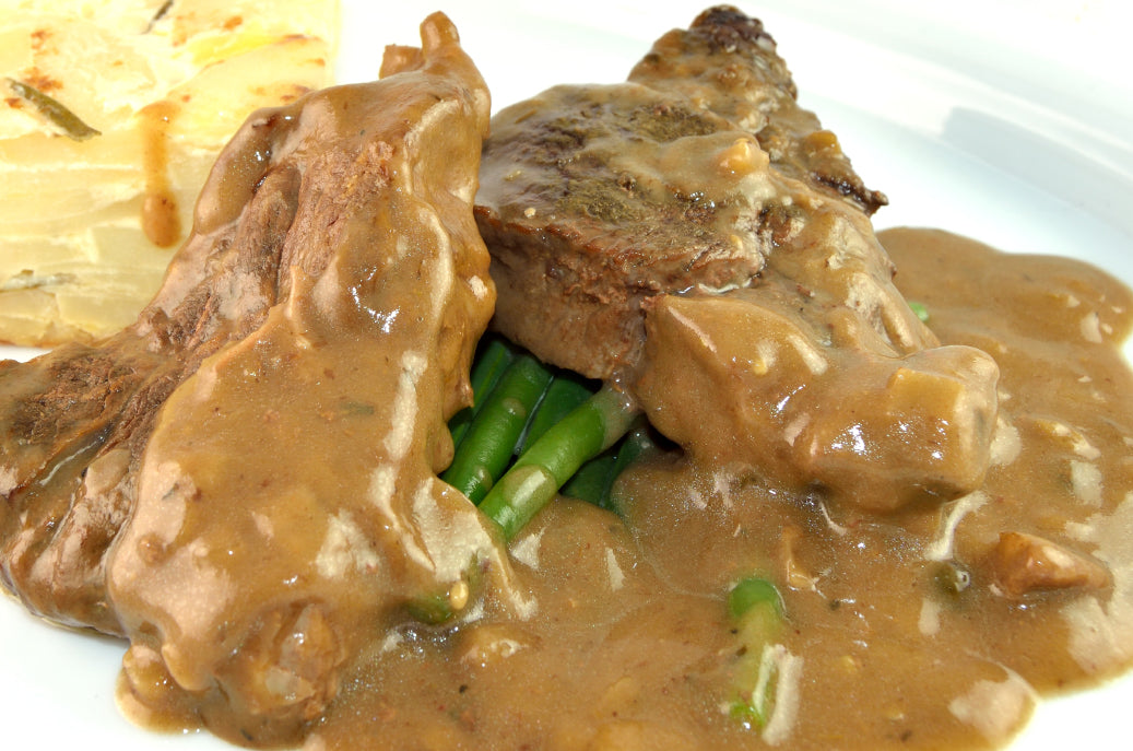 Beef in Stilton & Peppercorn Sauce