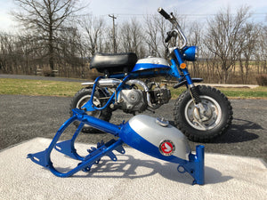 Matching Honda Candy Sapphire Blue Motorcycle Paint next to a 1969 Honda Z50