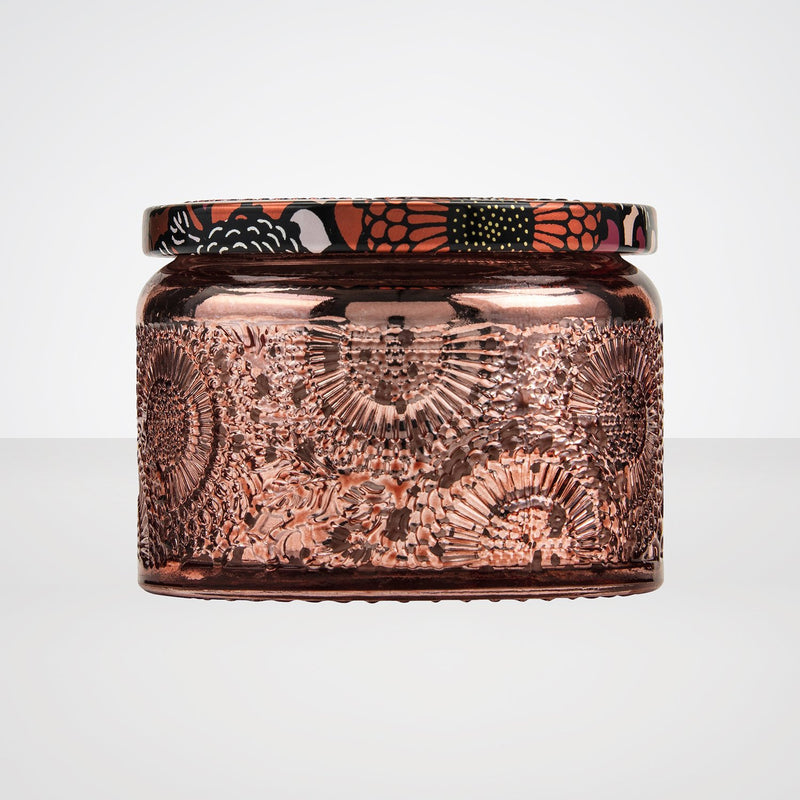 Petite Embossed Glass Jar Candle in Persimmon & Copal