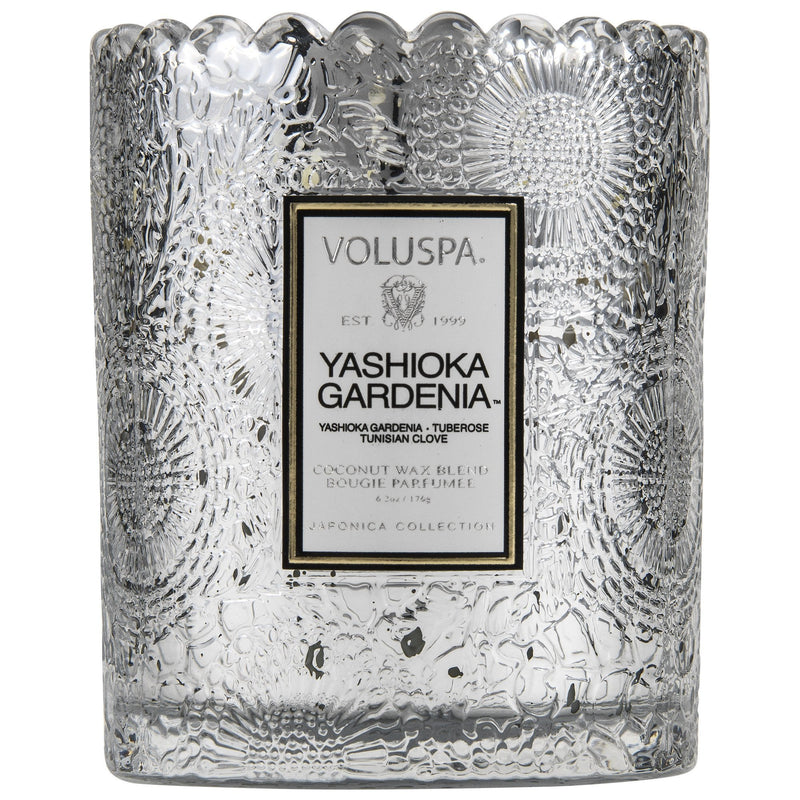 Scalloped Edge Embossed Glass Candle in Yashioka Gardenia design by Voluspa