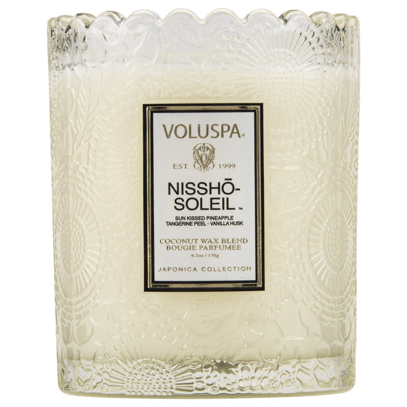 Scalloped Edge Embossed Glass Candle in Nissho-Soleil design by Voluspa