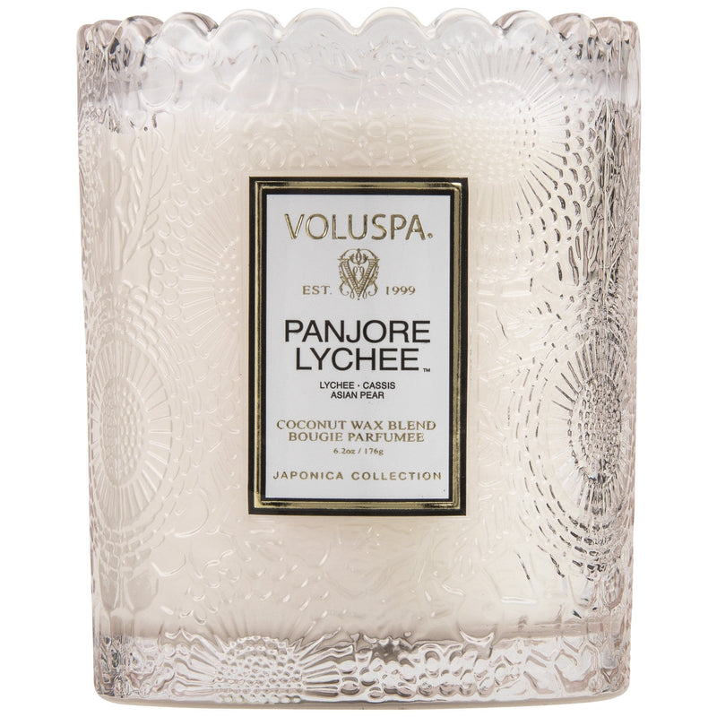 Scalloped Edge Embossed Glass Candle in Panjore Lychee design by Voluspa