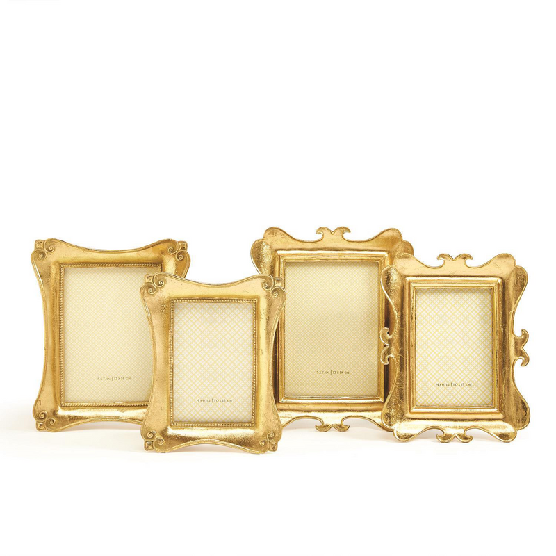 Set of 2 Brocante Gold Leaf Photo Frames