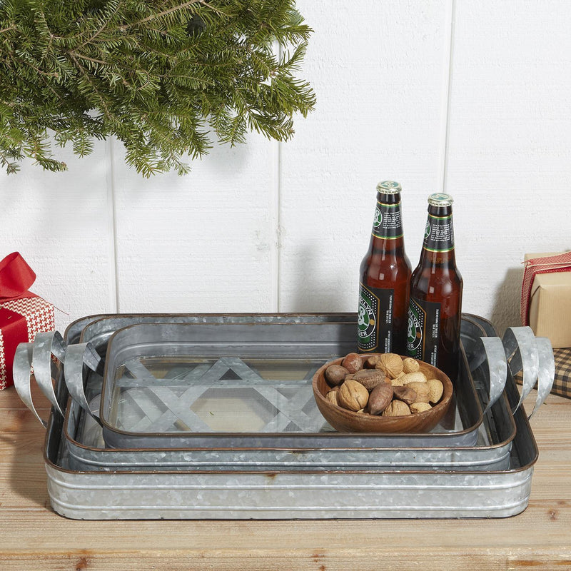 Farm to Table Galvanized Iron Gallery Trays, Set of 3
