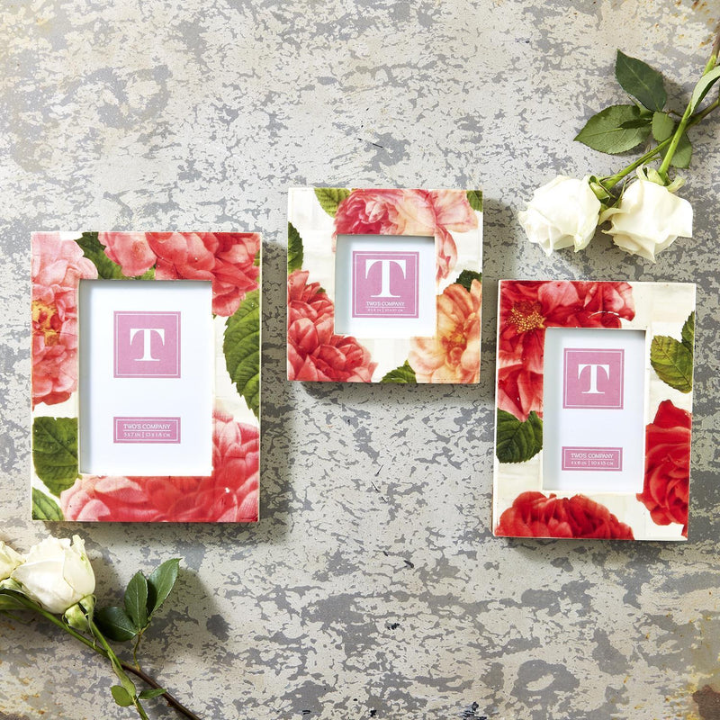 Rosy Outlook Rose Pattern Photo Frames, Set of 3