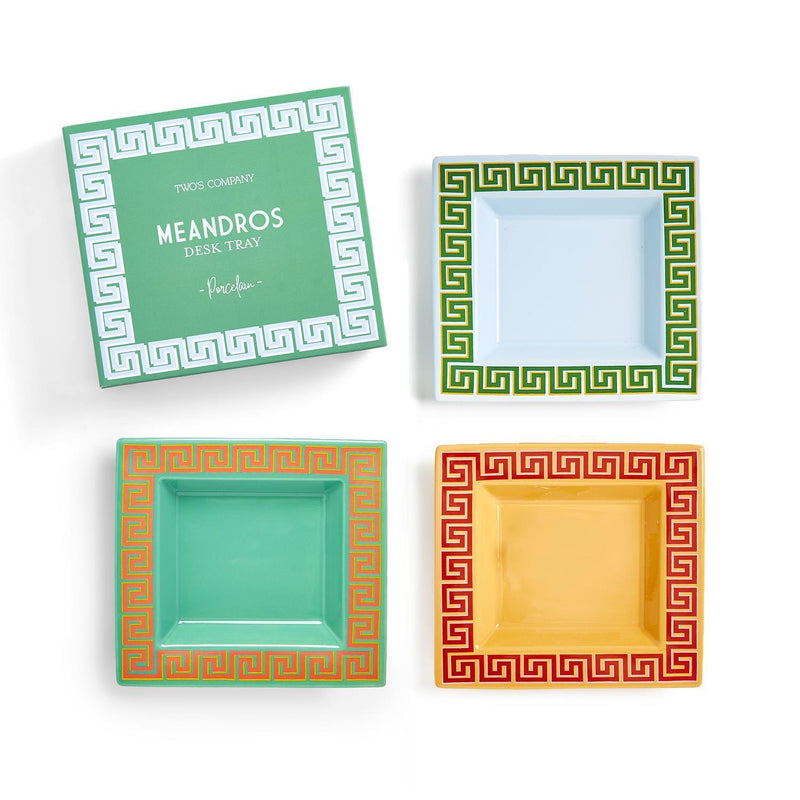 Meandros Greek Key Pattern Desk Tray in Various Colors