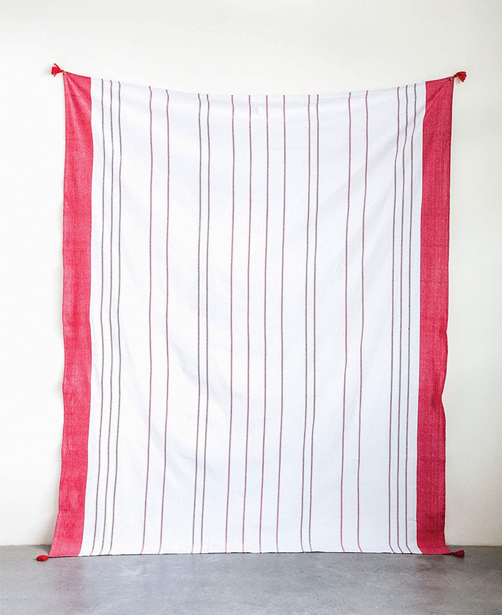 Cotton Woven Tablecloth with Red Stripes & Tassels
