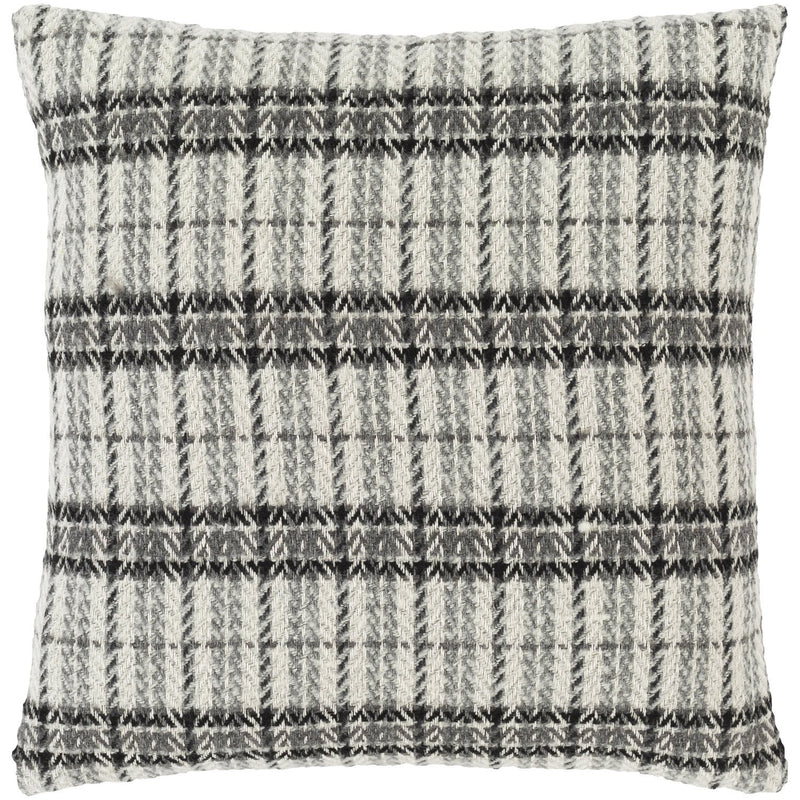 Adam ADM-001 Woven Pillow in White & Medium Gray by Surya