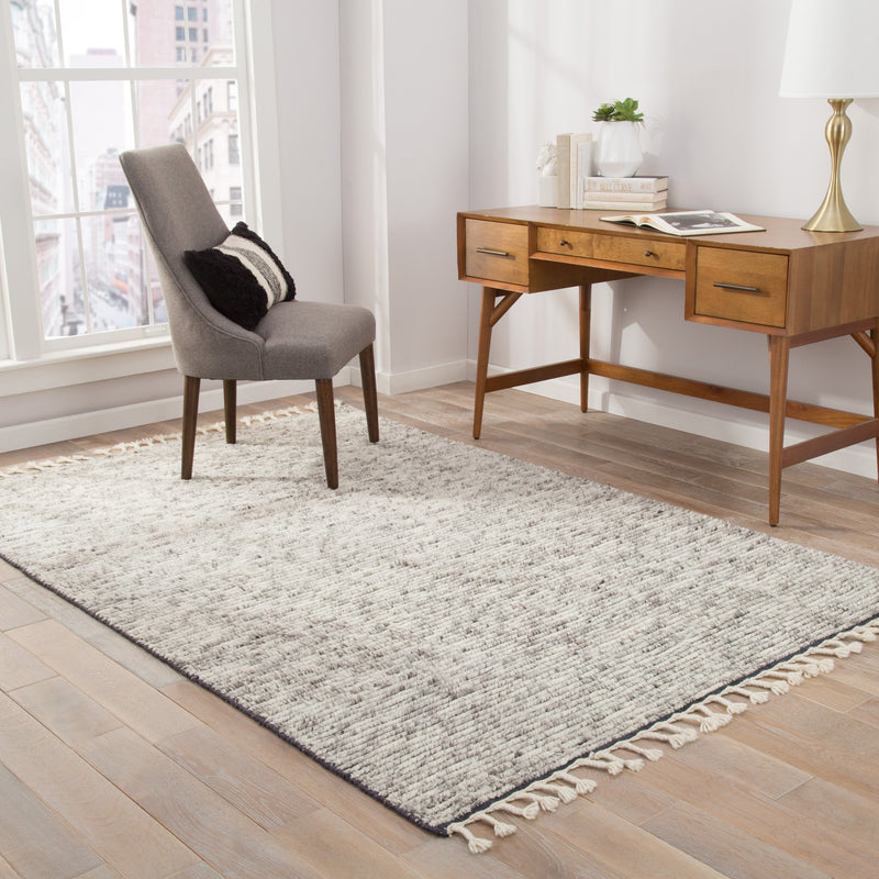 Alpine Hand-Knotted Stripe White & Gray Area Rug