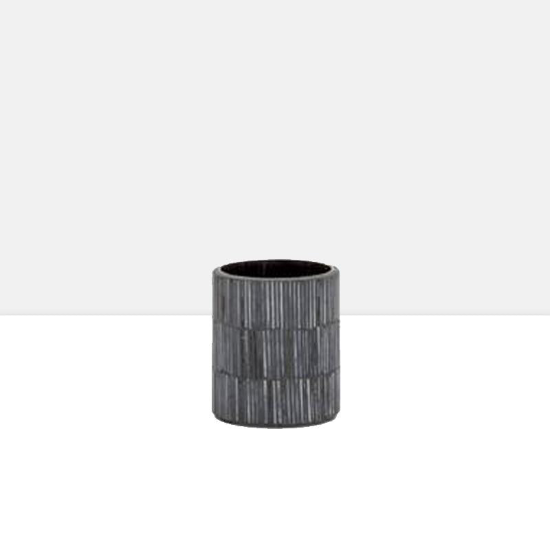Bamboo Glass Mosaic Tealight Holder in Black