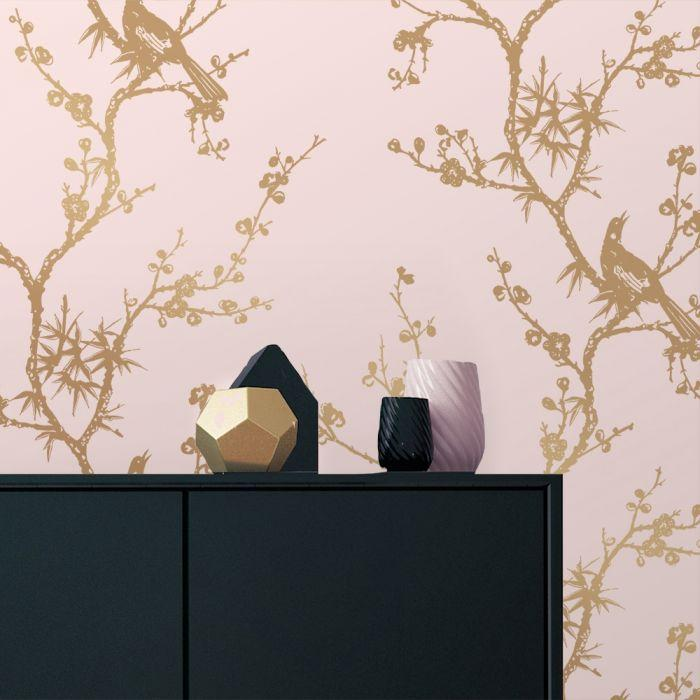 Bird Watching Removable Wallpaper in Rose Pink and Gold