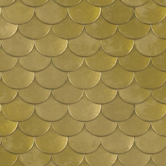 Brass Belly Removable Wallpaper in Old World Brass Metallic