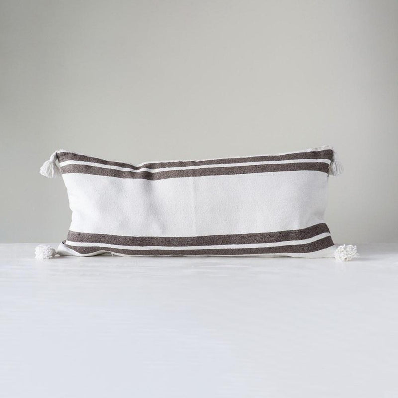 Brown Striped Pillow with Tassels