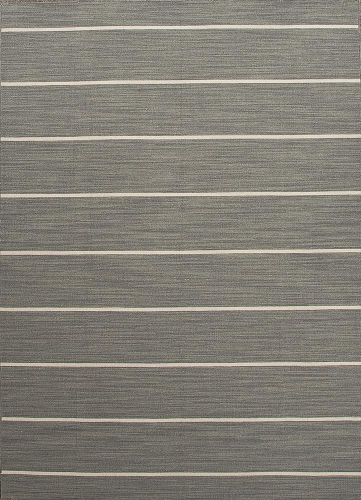Cape Cod Handmade Stripe Gray & White Area Rug