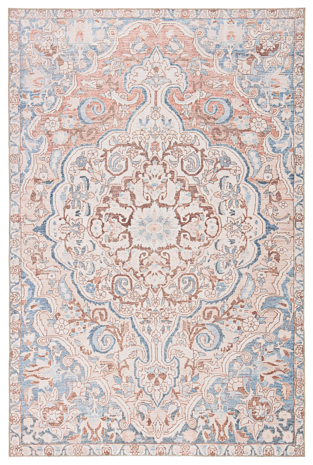 Annette Indoor/ Outdoor Medallion Blue/ Light Pink Rug