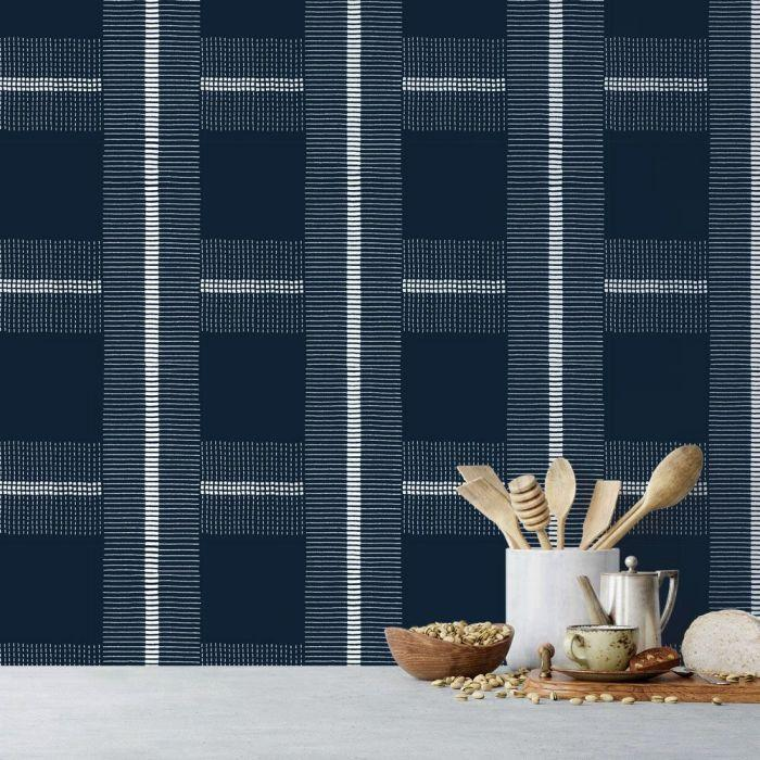 Check You Out Removable Wallpaper in Denim