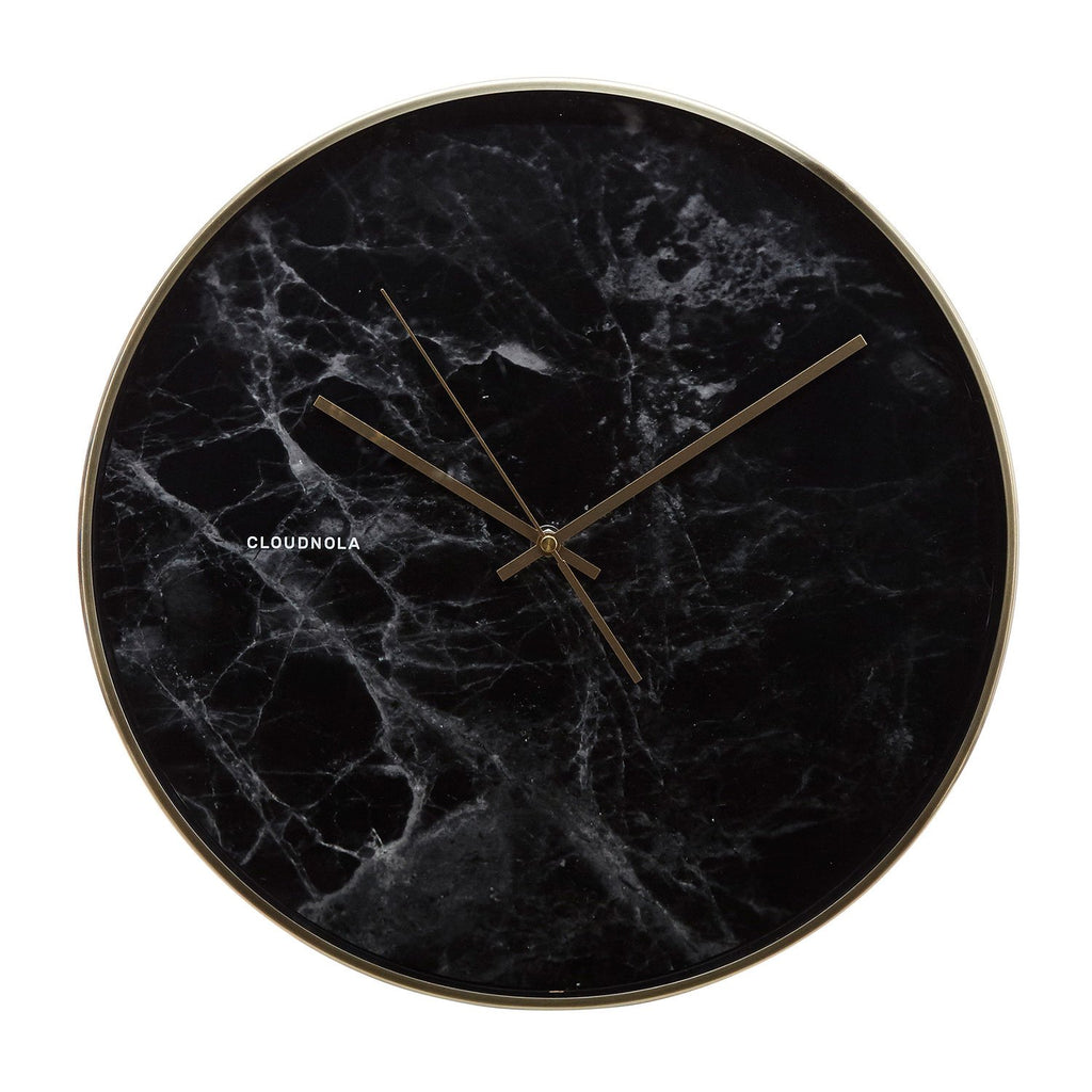 Structure Black Marble Wall Clock