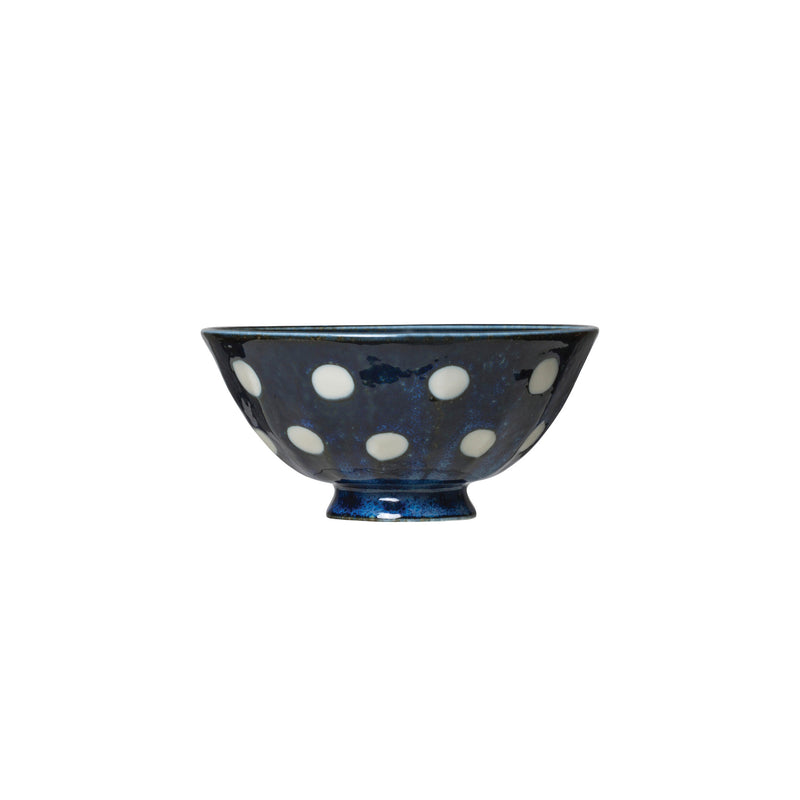 Blue Porcelain Bowl with White Polka Dots