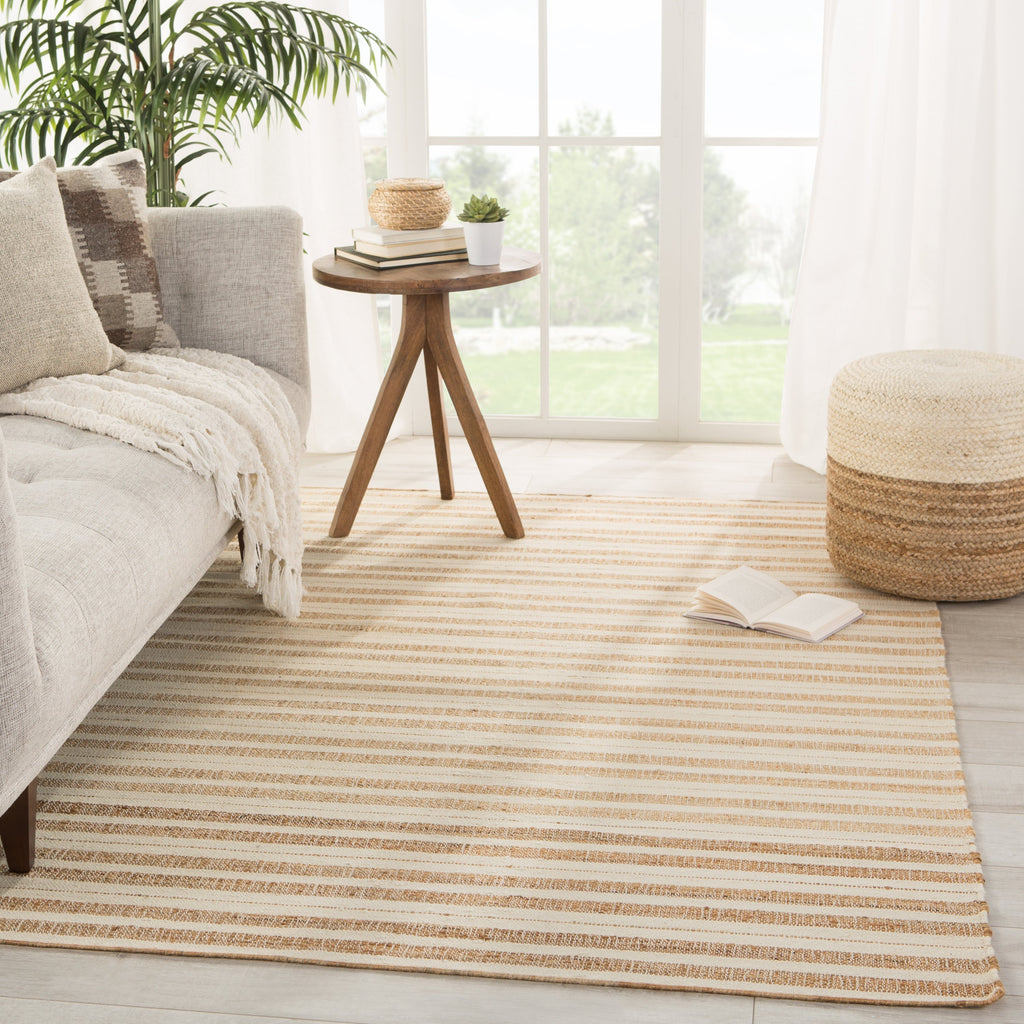 Rey Natural Striped Tan/ Ivory Rug