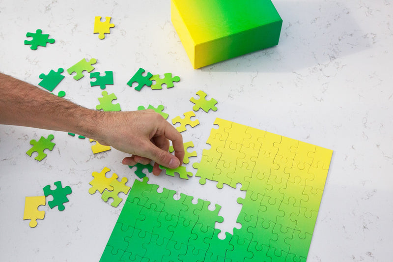 Gradient Puzzle Small in Green & Yellow design by Areaware